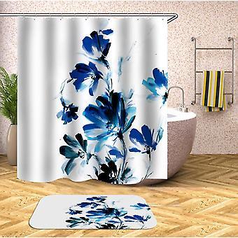 Blauwe tinten bloemen schilderij douche gordijn
