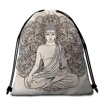 Drawing of Buddha Beach Towel