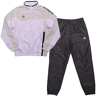 Junior Boys Umbro Division Lined Tracksuit In White Grey- Jacket: - Zip