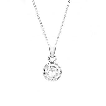 Eternity 9ct White Gold Round Cubic Zirconia Pendant And 18'' Chain