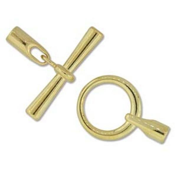 Beadsmith 19mm Round Glue In Toggle - 3.2mm - Gold Plated - 1pk