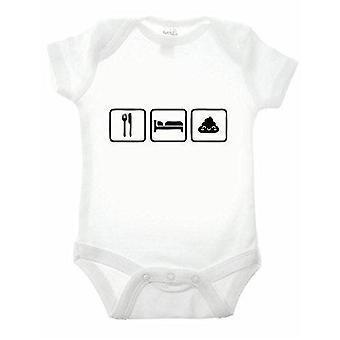 Eat sleep poo short sleeve babygrow