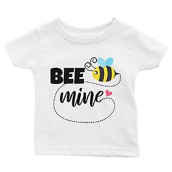 Bee Mine White Baby T-Shirt Cute Infant Tee Baby Boy Prezent urodzinowy