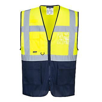Portwest Mens HI-i-Vis Two Tone MeshAir Safety Workwear Executive Vest