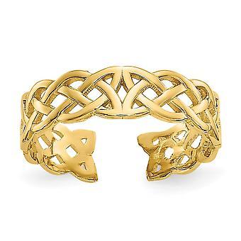 14k oro amarillo pulido filigrana celta nudo del dedo del pie anillo regalos de joyería para las mujeres - .9 gramos