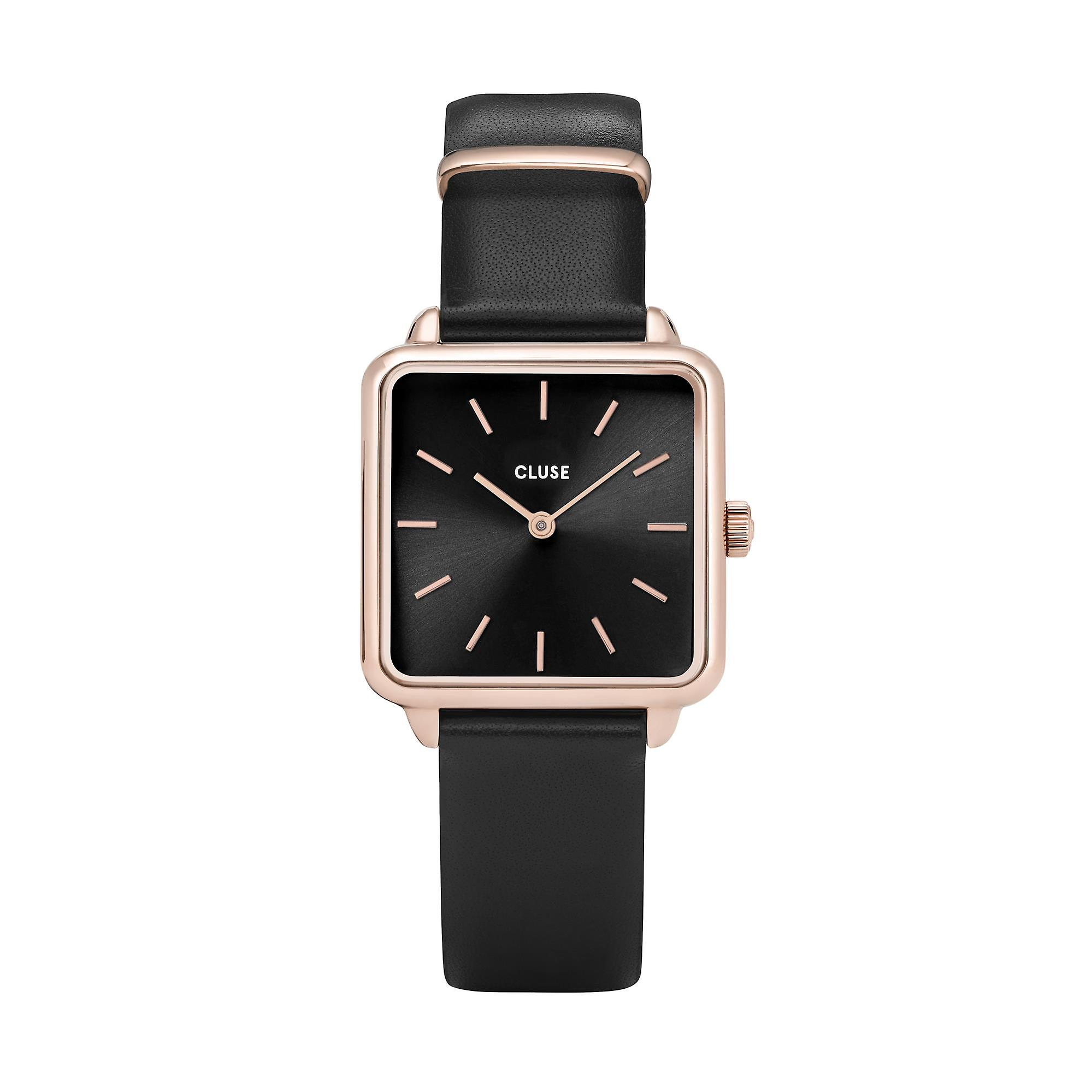 CLUSE La Tetragone Square Dial Rose Gold PVD Case Black Leather Strap Ladies Watch CW0101207011