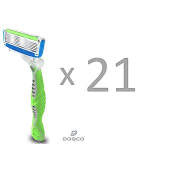 Pack of 21 (7x3) Dorco Shai6 Razor for Women