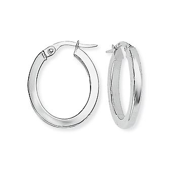 Jewelco London 9ct White Gold - Square Tube Oval Hoops Earrings -