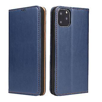 Voor iPhone 11 Pro Max Case Lederen Flip Wallet Beschermhoes met standaard blauw
