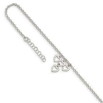 925 Sterling Silver Open Love Heart Dangles With 1inch Ext. Anklet 9 Inch Jewelry Gifts for Women
