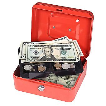 First Alert 1036621 Cash Box with Key Lock and Removable Tray, 0.1 cu. ft, Red