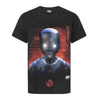 Star Wars Rogue One K2S0 Robot Boys Children's Black T-Shirt Top