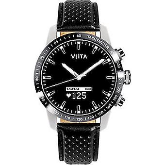 Viita - Connected Watch - Smartwatch - Hybrid HRV Tachymeter Silver-Black Leather - FT02W2021