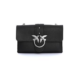 Pinko 1p21m2y65zz99 Women's Black Leather Shoulder Bag