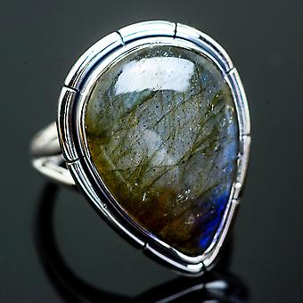 Large Labradorite Ring Size 8.5 (925 Sterling Silver)  - Handmade Boho Vintage Jewelry RING997370