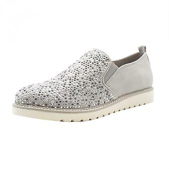 JAN 24603 Josie Sparkly Sporty Wide Fit Loafers In Light Grey
