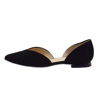 Högl 7-10 0012 Tenderly Chic Pointed Toe Suede Court Shoes In Black Suede