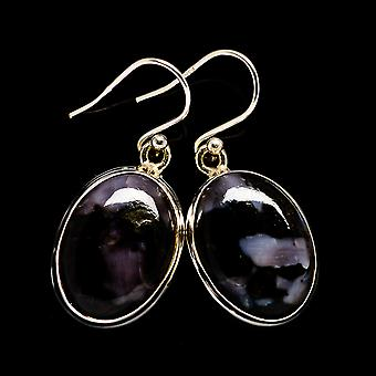 "Gabbro Stone Earrings 1 3/8"" (925 Sterling Silver)  - Handmade Boho Vintage Jewelry EARR398379"