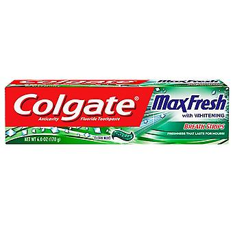 Colgate maxfresh whitening toothpaste, breath strips, clean mint, 6 oz