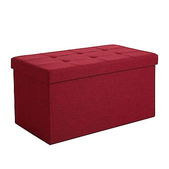 Linen hocker with storage space - 76 x 38 x 38 cm - blue or red