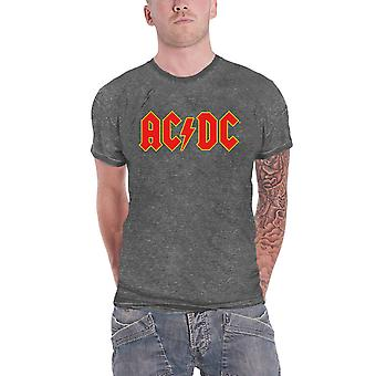 AC/DC Camiseta Clásica Red Band Logo nuevo Oficial Hombres Charcoal Gris Burn Out