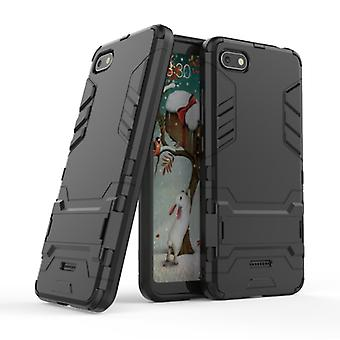 HATOLY iPhone SE (2020) - Robotic Armor Case Cover Cas TPU Case Black + Kickstand