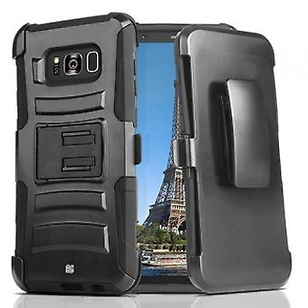 SAMSUNG GALAXY S8 BEYOND CELL SHELL CASE ARMOR KOMBO WITH KICKSTAND - BLACK/BLACK