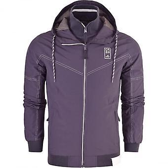 Crosshatch Mens Hooded Double Layer Windbreaker Jacket Showerproof Rain Coat Zip Pockets