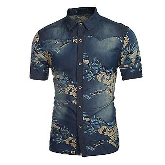 Allthemen Men's Short Sleeve Shirt Denim Printed Casual Shirt