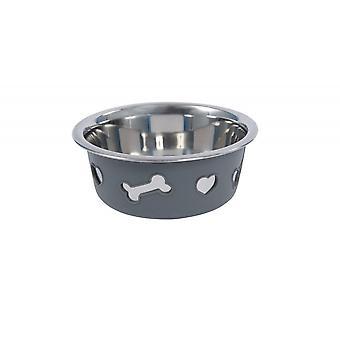 Weatherbeeta Non-slip Stainless Steel Silicone Bone Dog Bowl - Dark Grey