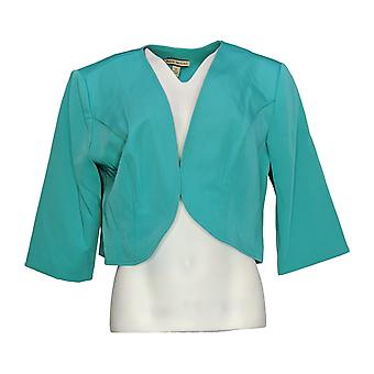 Maya Brooke Women's Cropped Blazer Jacket Open Front Teal Green