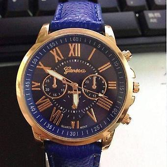 Rose gold classic geneva watch in cobalt blue