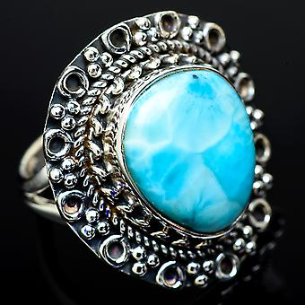 Larimar Ring Size 6.25 (925 Sterling Silver)  - Handmade Boho Vintage Jewelry RING11831