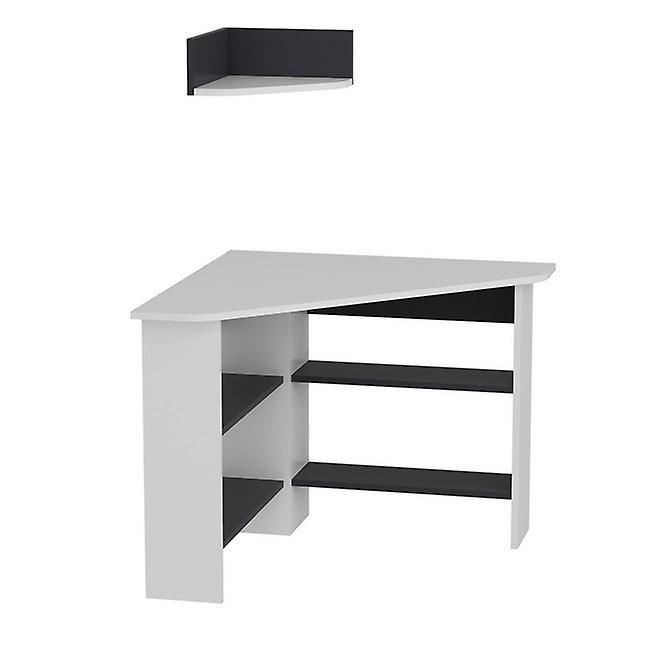 Tuzzy White Color desk, Anthrocyte in Melaminic Chip 90x90x74 cm, 36x36x15 cm