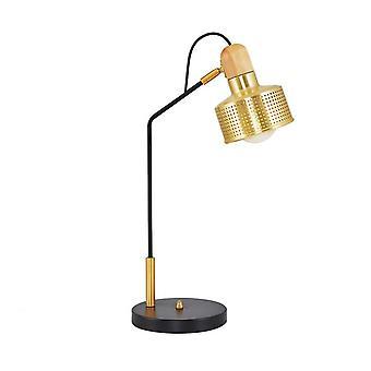 Bordslampa Jupiter Färg Guld, Trä, Svart i metall 30x30x60 cm
