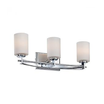 Taylor Wall Lamp, Polished Chrome, Opal Glass, 3 Leds