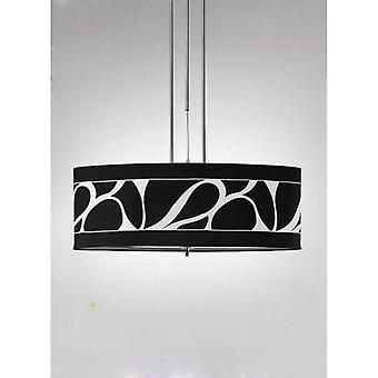 Manhattan Pendant Lamp 2 Bulbs L1 / Sgu10, Polished Chrome / Frosted Glass With Black Lampshade
