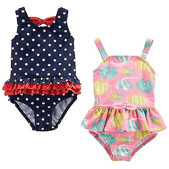 Simple Joys by Carter's Baby Girls' 2-Pack One-Piece Swimsuits, Navy Dot/Pink...