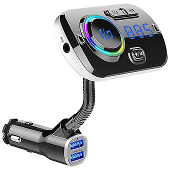 Wireless FM transmitter for the car, LED 7 colors, Qc3.0 - Black