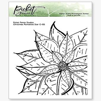 Picket Fence Studios Christmas Poinsettia Star Clear Stamps