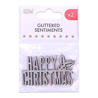 Simply Creative Christmas Glittered Sentiment Silver (2pcs) (SCTOP056X19)