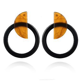 Black Acrylic Resin Hoop Drop Earrings