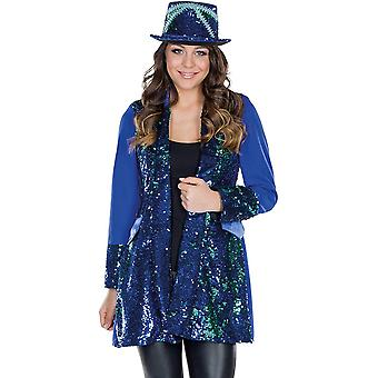 Chaqueta de lentejuelas chaqueta de mujer vestido brillo chaqueta longjacket pailettes azul carnaval brillo brillo