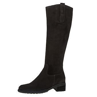 Gabor Shields Medium Fit lange støvler i sort nubuck