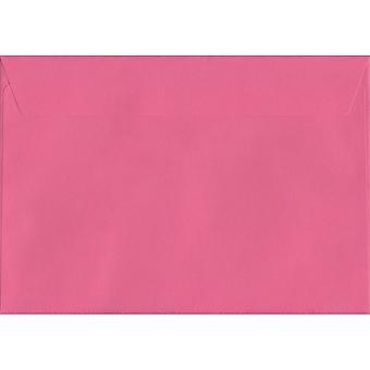 Flamingo Pink skræl/segl C5/A5 farvet Pink konvolutter. 120gsm luksus FSC-certificeret papir. 162 mm x 229 mm. tegnebog stil kuvert.