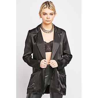 Pocket Front Black Silky Blazer