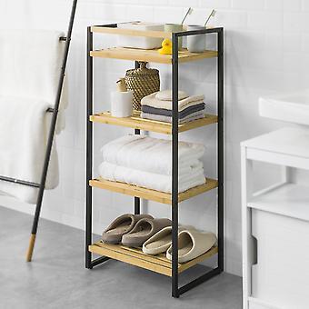 SoBuy STR05-N Aufbewahrungsregal Badezimmer Regal Küche Bambus und Metall