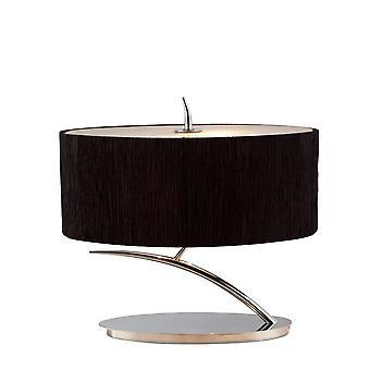 Lâmpada de mesa 2 Luz E27 Pequeno, Cromo Polido com Sombra Oval Preta