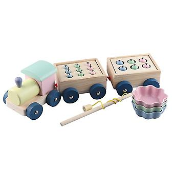 Kids Interactive Wooden Magnetic Games Fishing Toys Catch Worm Baby Early Educational Toys For Children Girl Gifts