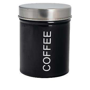 Contemporary Coffee Canister - Steel Kitchen Storage Caddy with Rubber Seal - Black